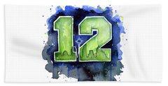 12th Man Seahawks Art Seattle Go Hawks Beach Towel by Olga Shvartsur