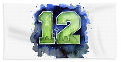12th Man Seahawks Art Seattle Go Hawks Beach Sheet by Olga Shvartsur