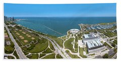 180 Degree View Of A City, Lake Beach Sheet by Panoramic Images
