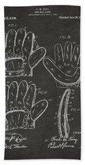 1910 Baseball Glove Patent Artwork - Gray Beach Sheet by Nikki Marie Smith