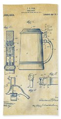 1914 Beer Stein Patent Artwork - Vintage Beach Towel by Nikki Marie Smith