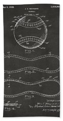 1928 Baseball Patent Artwork - Gray Beach Towel by Nikki Marie Smith
