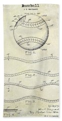 1928 Baseball Patent Drawing  Beach Towel by Jon Neidert
