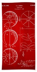 1929 Basketball Patent Artwork - Red Beach Towel by Nikki Marie Smith