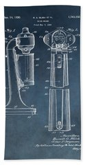 1930 Drink Mixer Patent Blue Beach Towel by Dan Sproul