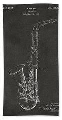 1937 Saxophone Patent Artwork - Gray Beach Towel by Nikki Marie Smith