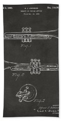 1940 Trumpet Patent Artwork - Gray Beach Towel by Nikki Marie Smith