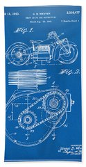 1941 Indian Motorcycle Patent Artwork - Blueprint Beach Towel by Nikki Marie Smith
