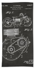 1941 Indian Motorcycle Patent Artwork - Gray Beach Towel by Nikki Marie Smith