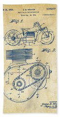 1941 Indian Motorcycle Patent Artwork - Vintage Beach Towel by Nikki Marie Smith