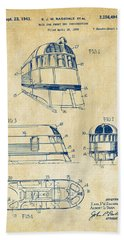 1941 Zephyr Train Patent Vintage Beach Sheet by Nikki Marie Smith