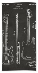 1953 Fender Bass Guitar Patent Artwork - Gray Beach Towel by Nikki Marie Smith