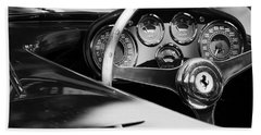 1954 Ferrari 500 Mondial Spyder Steering Wheel Emblem Beach Sheet by Jill Reger