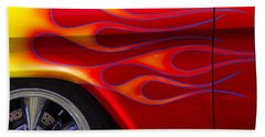 1955 Chevy Pickup With Flames Beach Sheet by Garry Gay