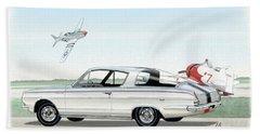 1965 Barracuda  Classic Plymouth Muscle Car Beach Sheet by John Samsen
