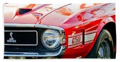 1969 Shelby Cobra Gt500 Front End - Grille Emblem Beach Sheet by Jill Reger