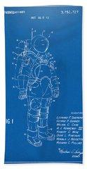 1973 Space Suit Patent Inventors Artwork - Blueprint Beach Towel by Nikki Marie Smith