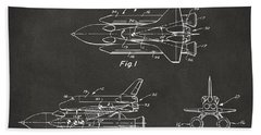 1975 Space Shuttle Patent - Gray Beach Towel by Nikki Marie Smith