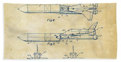 1975 Space Vehicle Patent - Vintage Beach Towel by Nikki Marie Smith