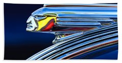 1939 Pontiac Silver Streak Chief Hood Ornament Beach Towel by Jill Reger