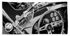 Ac Shelby Cobra Engine - Steering Wheel Beach Sheet by Jill Reger