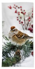 Christmas Sparrow Beach Towel by Christina Rollo