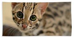 Asian Leopard Cub Beach Sheet by Laura Fasulo