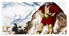 Atlas And Perseus, Greek Mythology Beach Towel by Photo Researchers
