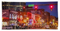 Broadway Street Nashville Beach Towel by Brian Jannsen