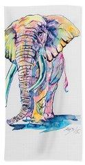 Colorful Elephant Beach Towel by Kovacs Anna Brigitta