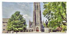 Duke Chapel In Spring Beach Sheet by Emily Kay