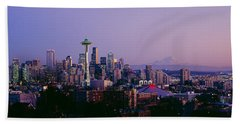 High Angle View Of A City At Sunrise Beach Sheet by Panoramic Images