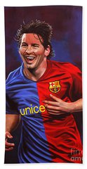 Lionel Messi  Beach Sheet by Paul Meijering