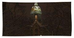 Notre Dame Golden Dome Snow Beach Sheet by John Stephens