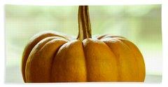 Small Orange Pumpkin Beach Towel by Iris Richardson