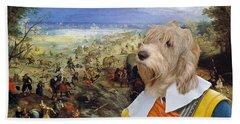 Petit Basset Griffon Vendeen Art Canvas Print  Beach Sheet by Sandra Sij
