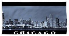 Chicago Skyline At Night Beach Towel by Sebastian Musial