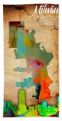 Milwaukee Map And Skyline Watercolor Beach Sheet by Marvin Blaine
