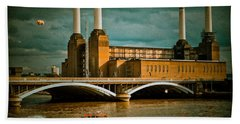 Pink Floyd Pig At Battersea Beach Towel by Dawn OConnor