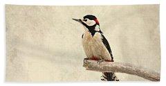 Woodpecker Beach Towel by Heike Hultsch