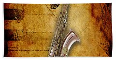 Saxophone Collection Beach Towel by Marvin Blaine