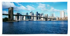Bridge Across A River, Brooklyn Bridge Beach Sheet by Panoramic Images