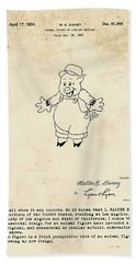 Disney Pig Patent Beach Towel by Marlene Watson