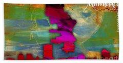 Milwaukee Map And Skyline Watercolor Beach Towel by Marvin Blaine