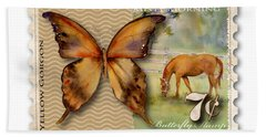 7 Cent Butterfly Stamp Beach Sheet by Amy Kirkpatrick
