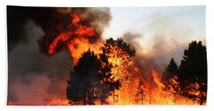 Beach Towel featuring the photograph A Burst Of Flames From The White Draw Fire by Bill Gabbert