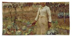 A Hinds Daughter, 1883 Oil On Canvas Beach Towel by Sir James Guthrie