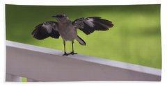 A Little Visitor Northern Mockingbird Beach Towel by Terry DeLuco
