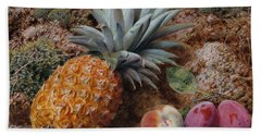 A Pineapple A Peach And Plums On A Mossy Bank Beach Towel by John Sherrin