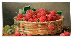 A Still Life Of Raspberries In A Wicker Basket  Beach Sheet by William B Hough